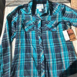 Billabong sheer plaid shirt